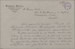 """Carta de Enrique Estela a Guillermo Fernández-Shaw, agradeciéndole el envío de un ejemplar dedicado de """"El canastillo de fresas""""."""