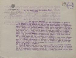 Carta de José Cubiles a Guillermo Fernández-Shaw, agradeciéndole su felicitación y su poesía con motivo de haber sido elegido Académico de Bellas Artes.
