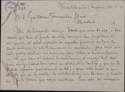 Carta de Arturo Dúo Vital a Guillermo Fernández-Shaw, pidiéndole una entrevista para iniciar una colaboración.