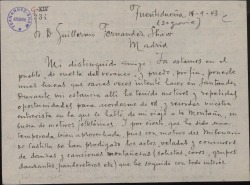 Carta de Arturo Dúo Vital a Guillermo Fernández-Shaw, dándole varias ideas para realizar una zarzuela de ambiente montañés.
