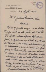 Carta de José Masllovet a Guillermo Fernández-Shaw, tranquilizándole sobre algunas dificultades, ya subsanadas, tenidas con un libreto.