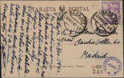 Tarjeta postal de José Masllovet a Guillermo Fernández-Shaw, agradeciéndole su postal y diciéndole que el negocio mejora algo y que continua su gira.