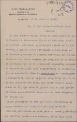 Carta de José Masllovet a Guillermo Fernández-Shaw, notificándole el mal fin de su empresa teatral.