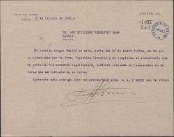 Carta de Francisco Alonso a Guillermo Fernández Shaw, atendiendo a una recomendación de éste.