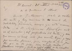 Carta de Francisco Alonso a Guillermo Fernández Shaw, remitiéndole una solicitud para el propietario de un teatro.