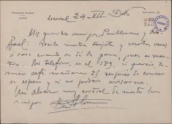 Carta de Francisco Alonso a Guillermo y Rafael Fernández Shaw, citándoles en su casa.