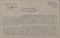 """Carta de Juan Dotras Vila a Federico Romero, explicándole las causas por las que """"Montbruc se va a la guerra"""" está todavía en apunte."""