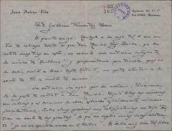 """Carta de Juan Dotras Vila a Guillermo Fernández-Shaw, contándole la impresión tan satisfactoria que la obra """"Montbruc se va a la guerra"""" ha causado a Emilio Sagi-Barba y una pequeña modificación que éste ha sugerido."""