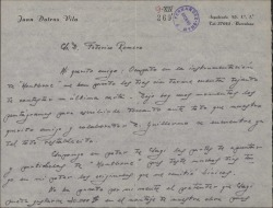 "Carta de Juan Dotras Vila a Federico Romero, con detalles sobre el montaje de la obra ""Montbruc se va a la guerra""."