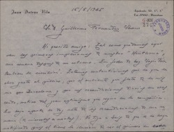"""Carta de Juan Dotras Vila a Guillermo Fernández-Shaw, dándole sus primeras impresiones, favorables, tras el estreno de """"Montbruc se va a la guerra"""" y adjuntando las recaudaciones de los primeros siete días."""