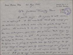 """Carta de Juan Dotras Vila a Guillermo Fernández-Shaw, diciéndole que la recaudación de """"Montbruc se va a la guerra"""" ha disminuido a causa de la crisis teatral que hay en Barcelona."""