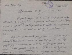 """Carta de Juan Dotras Vila a Guillermo Fernández-Shaw, diciéndole que acabarán la temporada en Barcelona con """"Montbruc se va a la guerra"""" a pesar de la disminución de la recaudación, problema que es general en todos los teatros."""