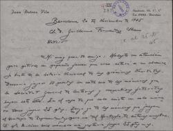 Carta de Juan Dotras Vila a Guillermo Fernández-Shaw, pidiéndole que le envíe unos números de lotería.