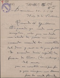 """Carta de Miguel Vila Piqué a Guillermo Fernández Shaw, sobre su trabajo en la música de """"Mimi Pinsón""""."""