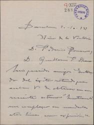 """Carta de Miguel Vila Piqué a Guillermo Fernández Shaw, expresando su alegría por el éxito de la obra """"Monte Carmelo""""."""