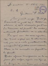 """Carta de Miguel Vila Piqué a Guillermo Fernández Shaw, felicitándole por el éxito de """"La tabernera del puerto"""" y comentando la actividad teatral en Barcelona."""
