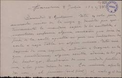 """Carta de Miguel Vila Piqué a Guillermo Fernández Shaw, acusando recibo de una suya y anunciando el envío de material de """"Mimi Pinsón"""" tras una segunda audición con Ricardo Mayral."""