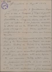 """Carta de Miguel Vila Piqué a Guillermo Fernández Shaw, comentando la marcha de sus gestiones con Ricardo Mayral en relación con """"Mimi Pinsón""""."""