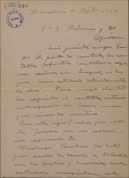 """Carta de Miguel Vila Piqué a Guillermo Fernández Shaw y Federico Romero, enviándoles los cantables definitivos de """"Mimi Pinsón"""" e informándoles de una segunda audición de la misma."""