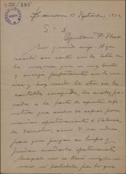 """Carta de Miguel Vila Piqué a Guillermo Fernández Shaw, con detalles y modificaciones de su trabajo en """"Mimi Pinsón""""."""