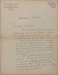 Carta de Eduardo Granados a Guillermo Fernández-Shaw, sobre temas económicos y deseándole éxito en un estreno.