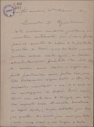 """Carta de Miguel Vila Piqué a Guillermo Fernández Shaw, sobre copia y correcciones del original de """"Mimi Pinsón""""."""