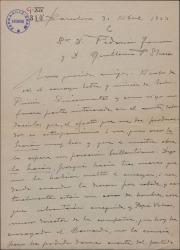 """Carta de Miguel Vila Piqué a Guillermo Fernández Shaw y Federico Romero, entusiasmado después de haber oído un ensayo de """"Mimi Pinsón""""."""