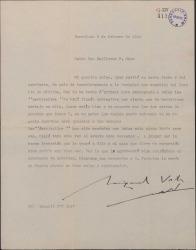"""Carta de Miguel Vila Piqué a Guillermo Fernández Shaw, sobre las """"particellas"""" corregidas de """"Mimi Pinsón""""."""