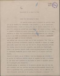 """Carta de Miguel Vila Piqué a Guillermo Fernández Shaw, diciéndole que llegará a Madrid antes del estreno de """"Mimi Pinsón"""" para asistir a algunos ensayos."""