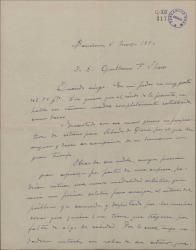 Carta de Miguel Vila Piqué a Guillermo Fernández Shaw, deseándole éxito en su próximo estreno.
