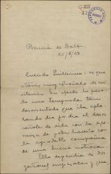 Carta de Eduardo Granados a Guillermo Fernández-Shaw, dándole cuenta larga y detallada de sus asuntos teatrales y disculpándose por su tardanza en escribir.
