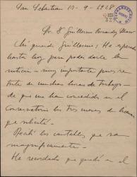 Carta de Jesús Guridi a Guillermo Fernández-Shaw, con detalles de su trabajo en una obra en que colaboran.