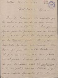 Carta de Jesús Guridi a Federico Romero, dándole impresiones pesimistas sobre la obra que han estrenado e informándole sobre la celebración del Carnaval bilbaíno.