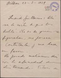 Carta de Jesús Guridi a Guillermo Fernández-Shaw, remitiéndole otra carta [adjunta] con una petición de autorización para utilizar unos números de una obra de éste, y comentando sobre ello.