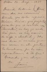 Tarjeta postal de Jesús Guridi a Guillermo Fernández-Shaw, anunciándole la suspensión de su viaje a Madrid.