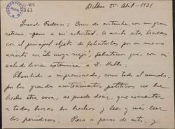 """Carta de Jesús Guridi a Federico Romero,felicitándole por el éxito de """"La moza vieja"""" y haciendo comentarios políticos y teatrales."""