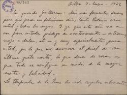 Carta de Jesús Guridi a Guillermo Fernández-Shaw, felicitándole el año y haciendo comentarios sobre las representaciones e intérpretes de sus obras.