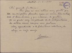 Carta de Jesús Guridi a Guillermo Fernández-Shaw, agradeciéndole la audición de una misa que ha compuesto y su felicitación por ella.