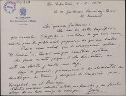 """Carta de Jesús Guridi a Guillermo Fernández-Shaw, enviándole los datos biográficos que le ha pedido para una publicación japonesa y refiriéndose a asuntos de """"El caserío""""."""