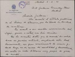 """Carta de Jesús Guridi a Guillermo Fernández-Shaw, agradeciéndole el artículo que ha publicado sobre él en """"El Diario de Navarra"""" y las referencias biográficas que ha enviado sobre él a Japón."""