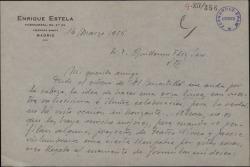 Carta de Enrique Estela a Guillermo Fernández-Shaw, solicitándole un libreto para componer su partitura.