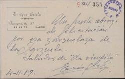 Tarjeta postal de Enrique Estela a Guillermo Fernández-Shaw, con una felicitación.