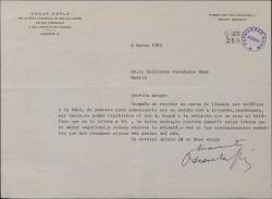 Carta de Oscar Esplá a Guillermo Fernández-Shaw, anulando una entrevista relacionada con la Sociedad General de Autores de España.