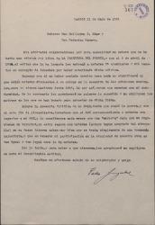 """Carta de Pablo Sorozábal a Guillermo Fernández-Shaw y Federico Romero, pidiendo explicaciones de una edición que se ha hecho de """"La tabernera del puerto"""" sin que él haya obtenido beneficios."""