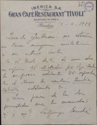 """Carta de Rafael Millán a Guillermo Fernández-Shaw, comentando las representaciones de """"El dictador"""" y preguntando por un libreto prometido para una nueva colaboración."""
