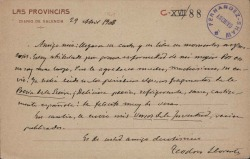 Cartas de Teodoro Llorente a Carlos Fernández Shaw.