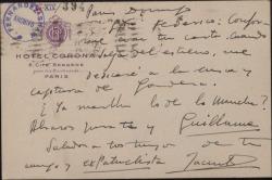 Tarjeta postal de Jacinto Guerrero a Federico Romero, mostrándose conforme con lo dicho por éste en una carta anterior.