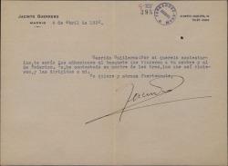 Carta de Jacinto Guerrero a Guillermo Fernández-Shaw, remitiéndole varias adhesiones a un homenaje que les dieron a ellos y a Federico Romero.