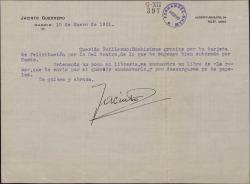 Carta de Jacinto Guerrero a Guillermo Fernández-Shaw, agradeciendo una felicitación y enviándole un libro por si lo quiere conservar.