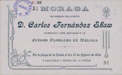 Tarjeta de invitación a Carlos Fernández Shaw.